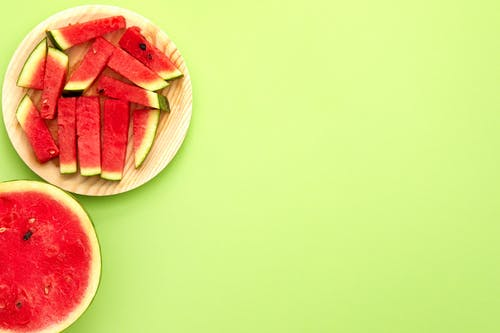 Watermelon on Brown Tray