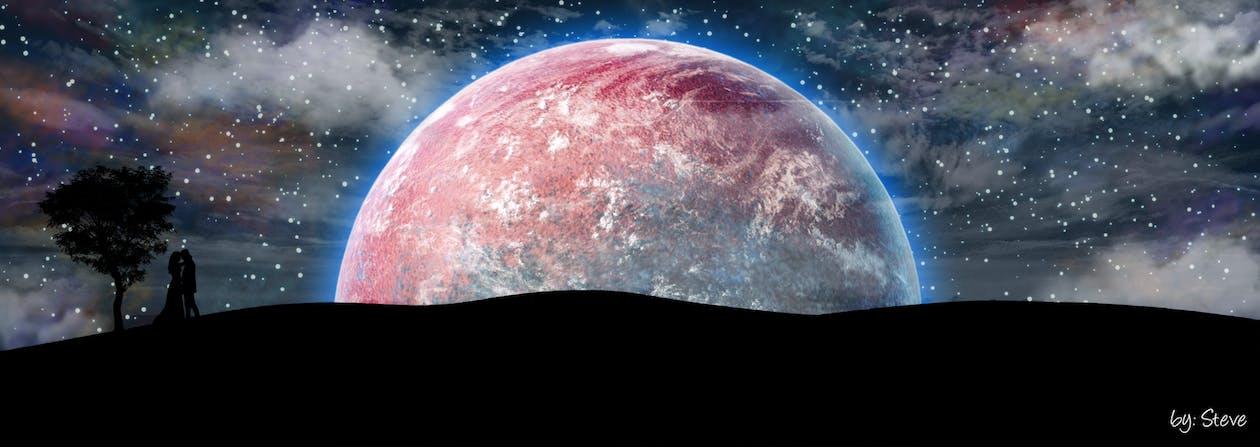 absztrakt, bolygó, csillagos égbolt