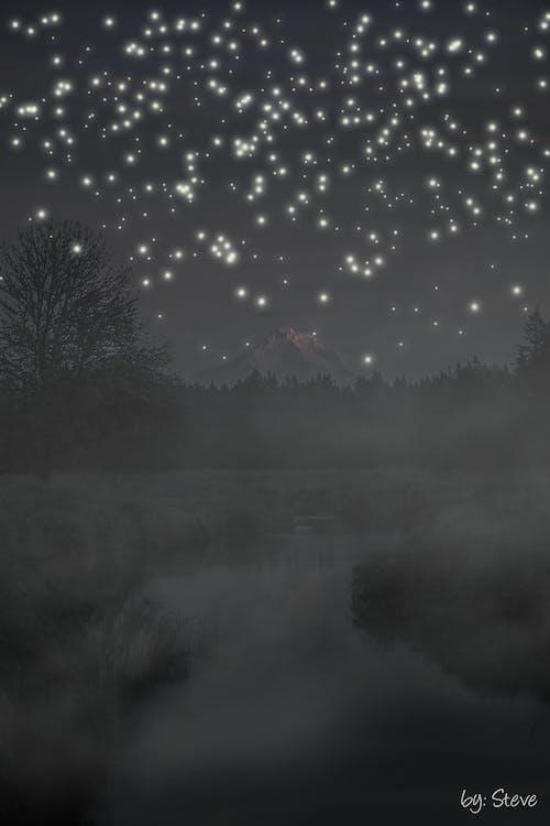 Ingyenes stockfotó csillag, csillagos égbolt, folyó, ködös témában
