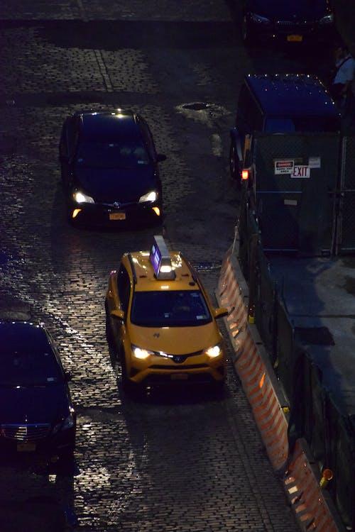 Free stock photo of car, jaune, new york, night