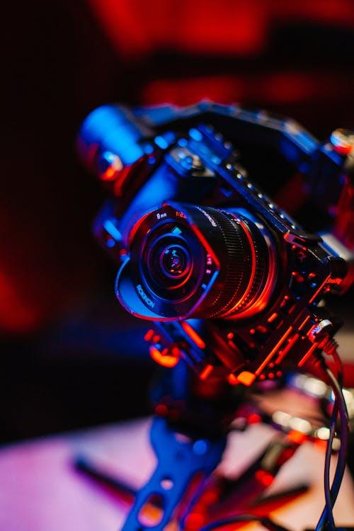 Blue and Black Camera Lens