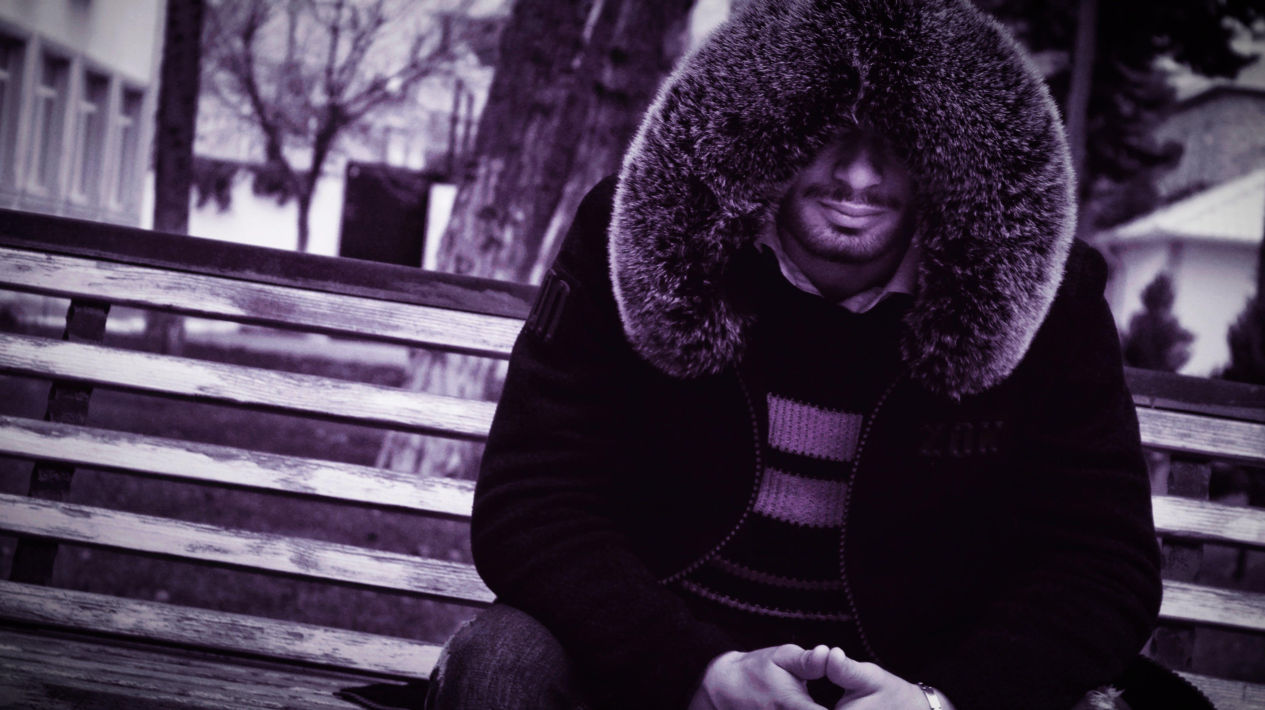 adult, bench, blur