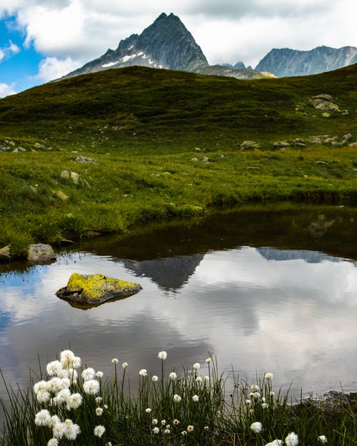 Free stock photo of alps, clouds, meadow, mirroring