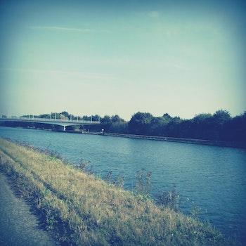 Free stock photo of sky, water, bridge, grass