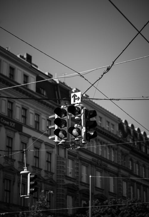 Monochrome Photo Of Traffic Lights