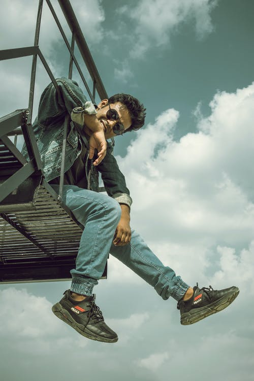 Free stock photo of blue cloud, boy, cloud, In black shoes