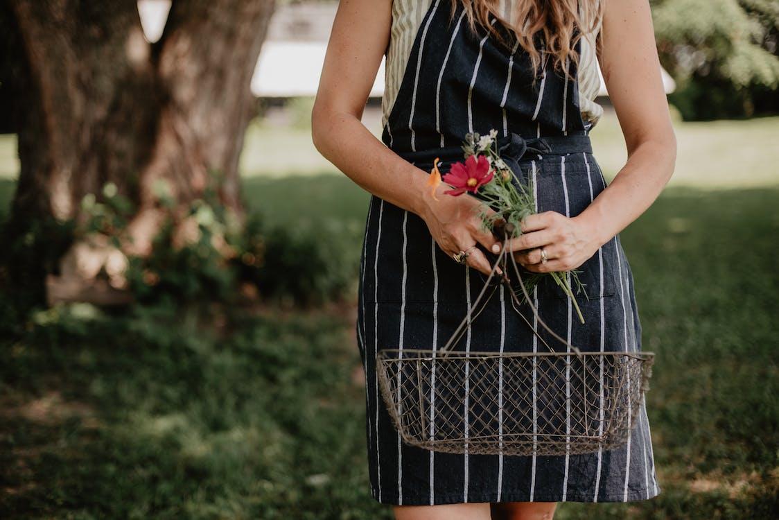 afslappet, blomster, bod