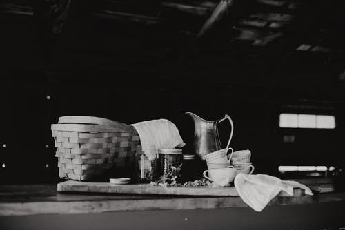 Basket And Tea Drink On Table