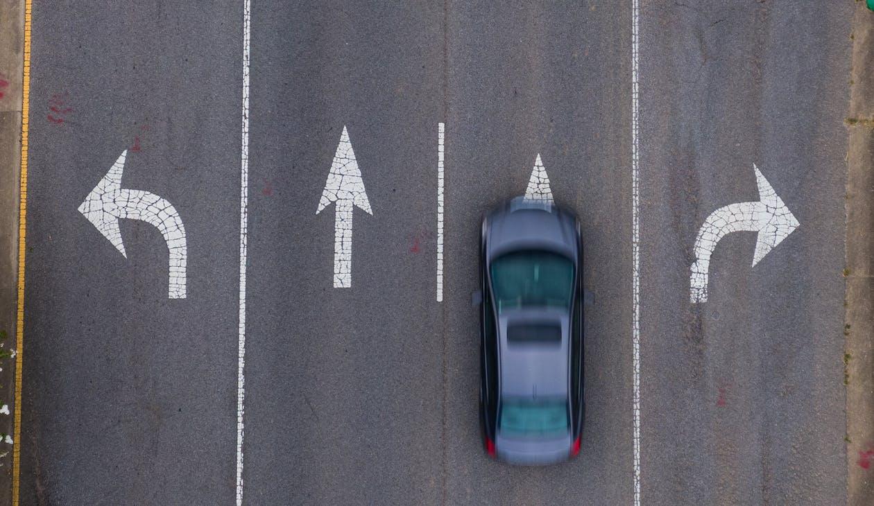 Grey Sedan on the Road
