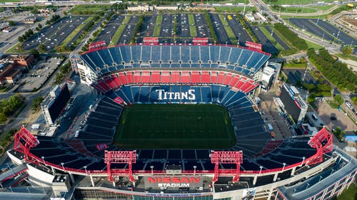 Empty Blue and Red Titans Stadium