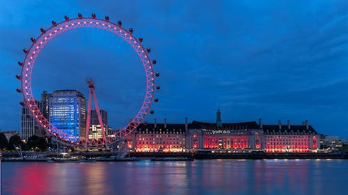Free stock photo of london, night, red, river