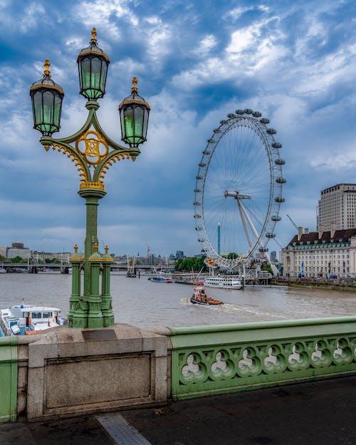 Free stock photo of lamp, london, london eye, wheel