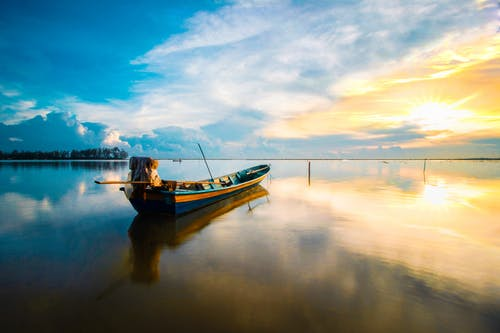 Scenic Photo Of Boat During Dawn