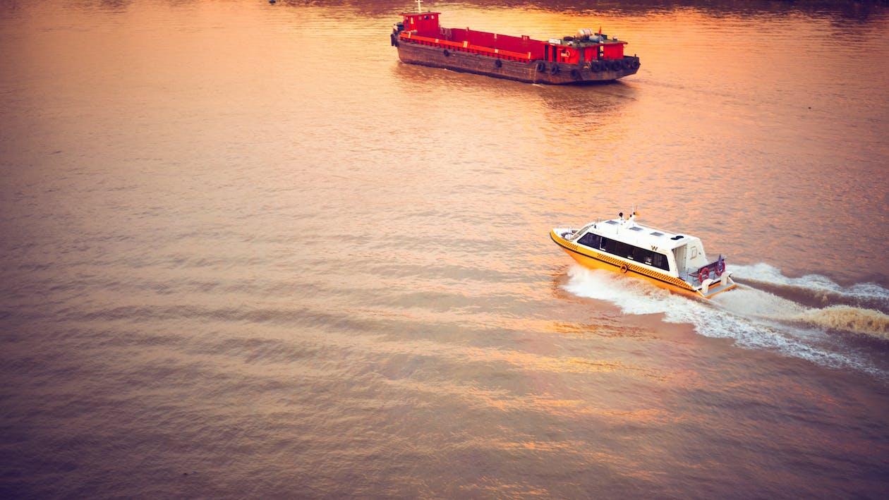 河, 美丽的夕阳, 船
