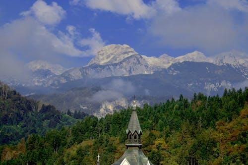 Free stock photo of blue sky, church, cloud, fir