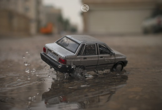 Free stock photo of water, car, toy, accident