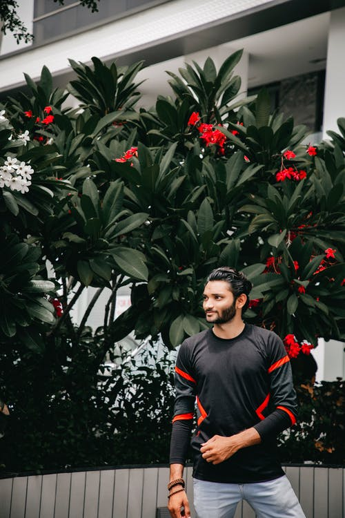 Photo of Man Posing While Looking Away with Tree in the Background