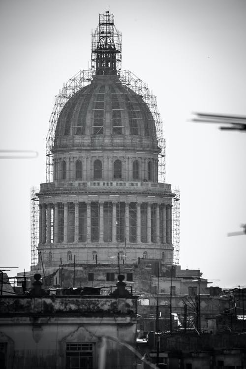 Greyscale Photo of Dome Building