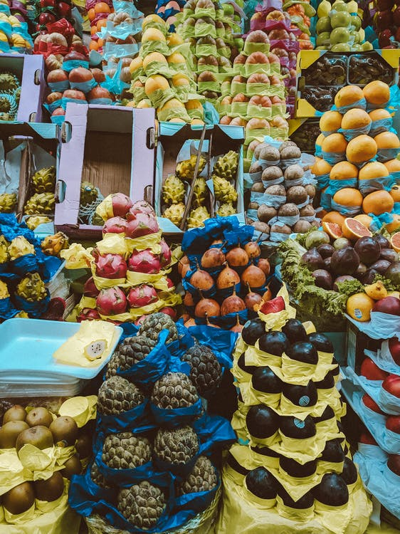 Assorted-color-and-type of Fruits on Display
