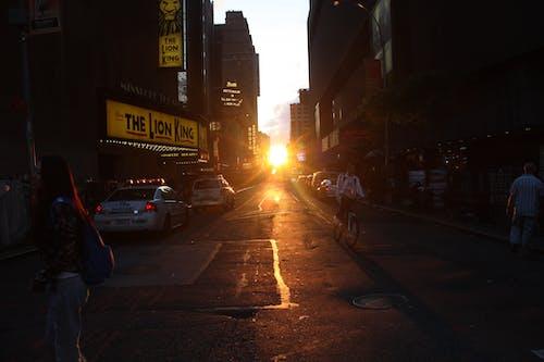 Free stock photo of bright yellow sunset, ny sunset, sunset at new york city street