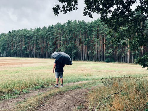 Man Standing Near Open Field While Holding Umbrella