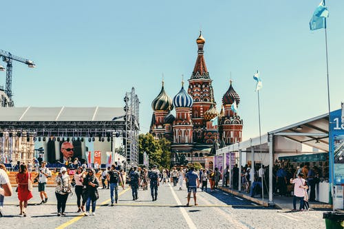 People Walking Near St Basil's Cathedral In Moscow