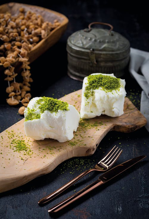 White Cheese With Green Toppings
