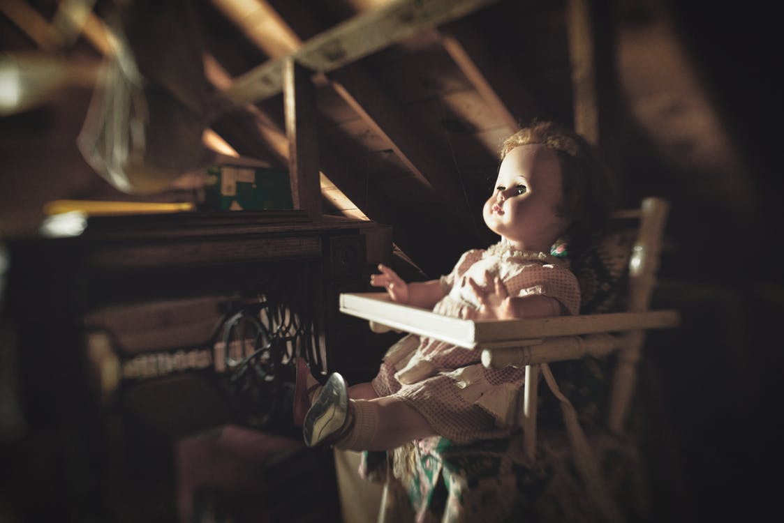 abstract, attic, baby doll