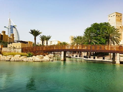 Free stock photo of bridge, burj al arab, canal