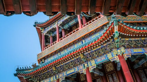 Chinese Ancient Architectural Design Of A Multicolored Temple