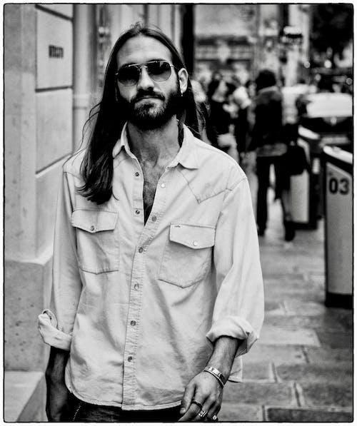 Free stock photo of denim shirt, fujifilm, full bearded man, long hair