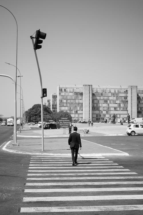 Fotobanka sbezplatnými fotkami na tému chlap, chodec, chôdza, čiernobiela fotografia
