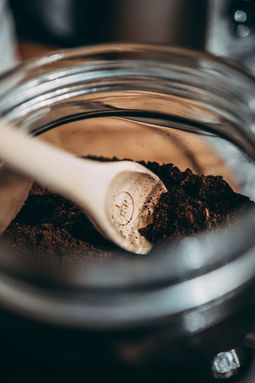 Ground Coffee in Glass Jar
