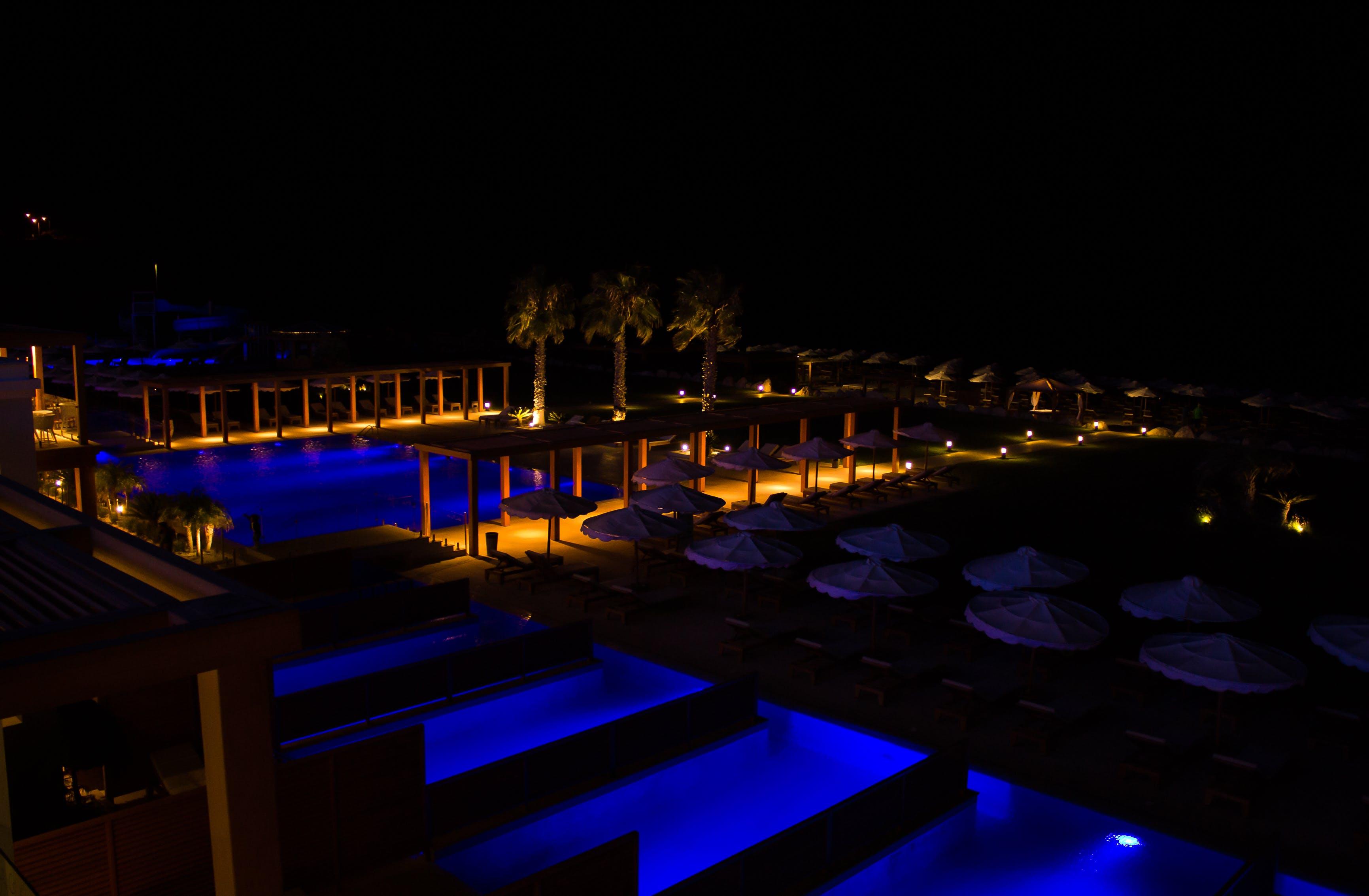 Gratis lagerfoto af hotel, nat hotel, palmer, personlig pool