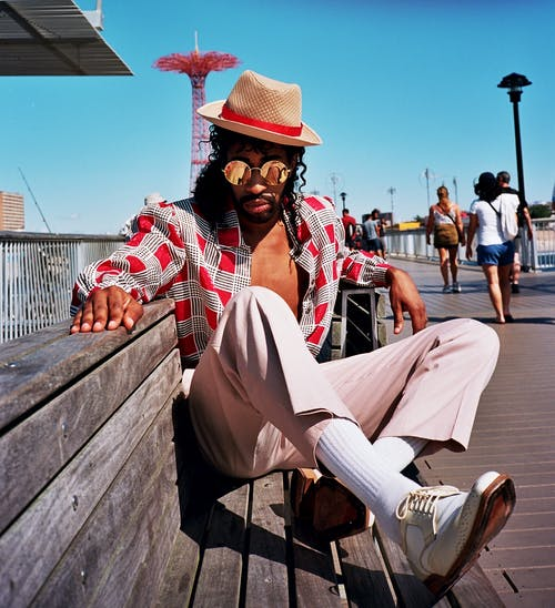 Men's Red and White Button-up Shirt and Pink Pants