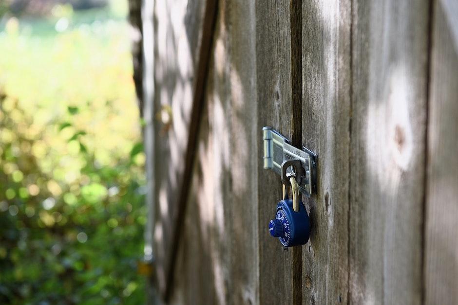 locked, padlock, wood