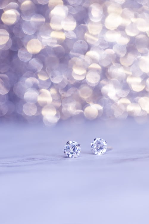Close-Up Photo Of Diamond Earings