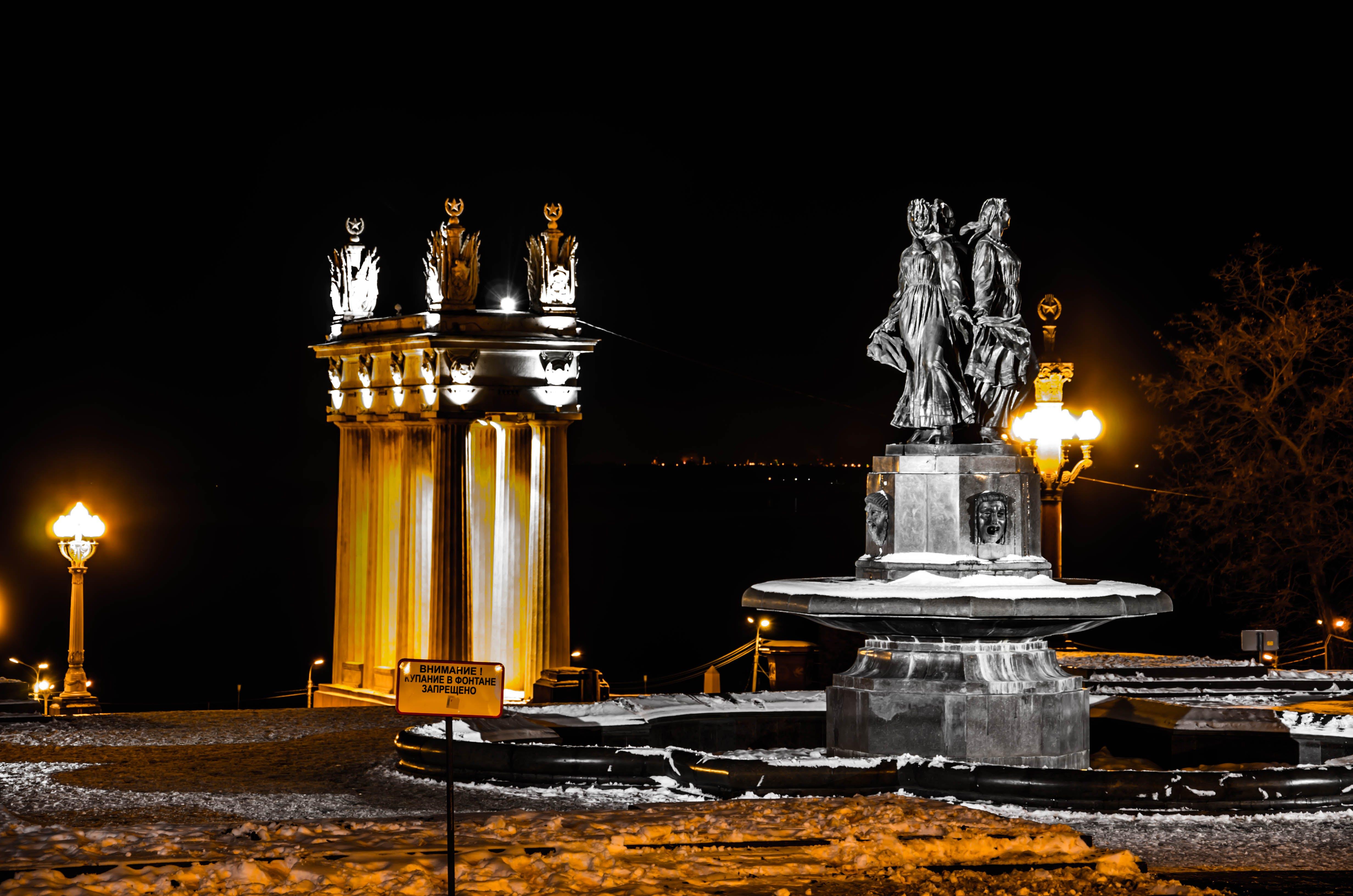 architecture, dark, fountain