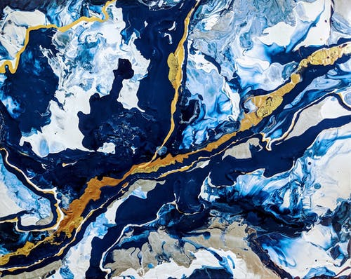 Blue, White, and Yellow Abstract Painting