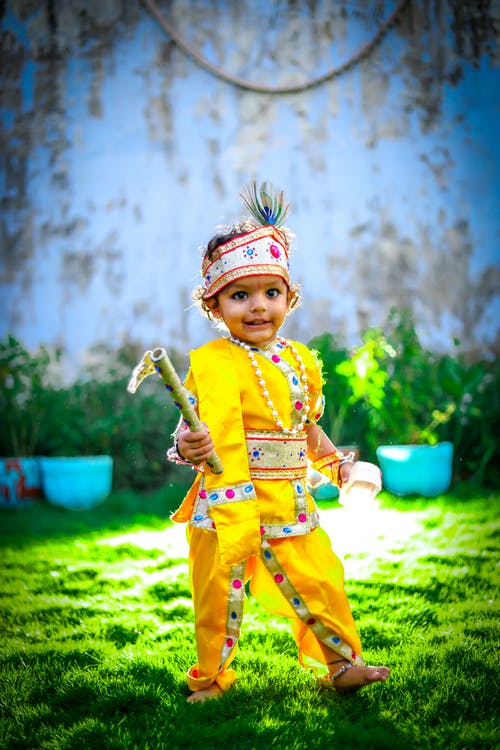 Boy Wearing Yellow Traditional Wear