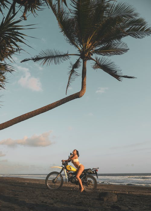 Woman Riding Motorcycle Under Palm Tree