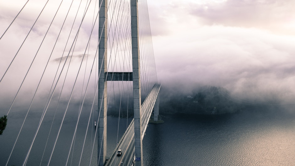 architecture, bridge, fog