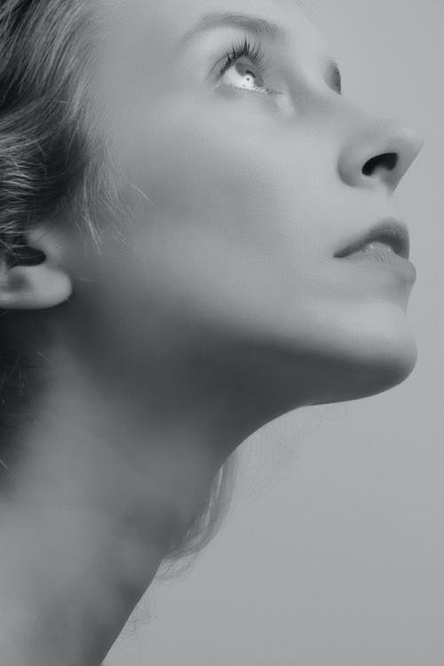 Monochrome Photo of Woman's Face