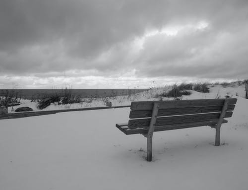Free stock photo of beach, bench, black and white