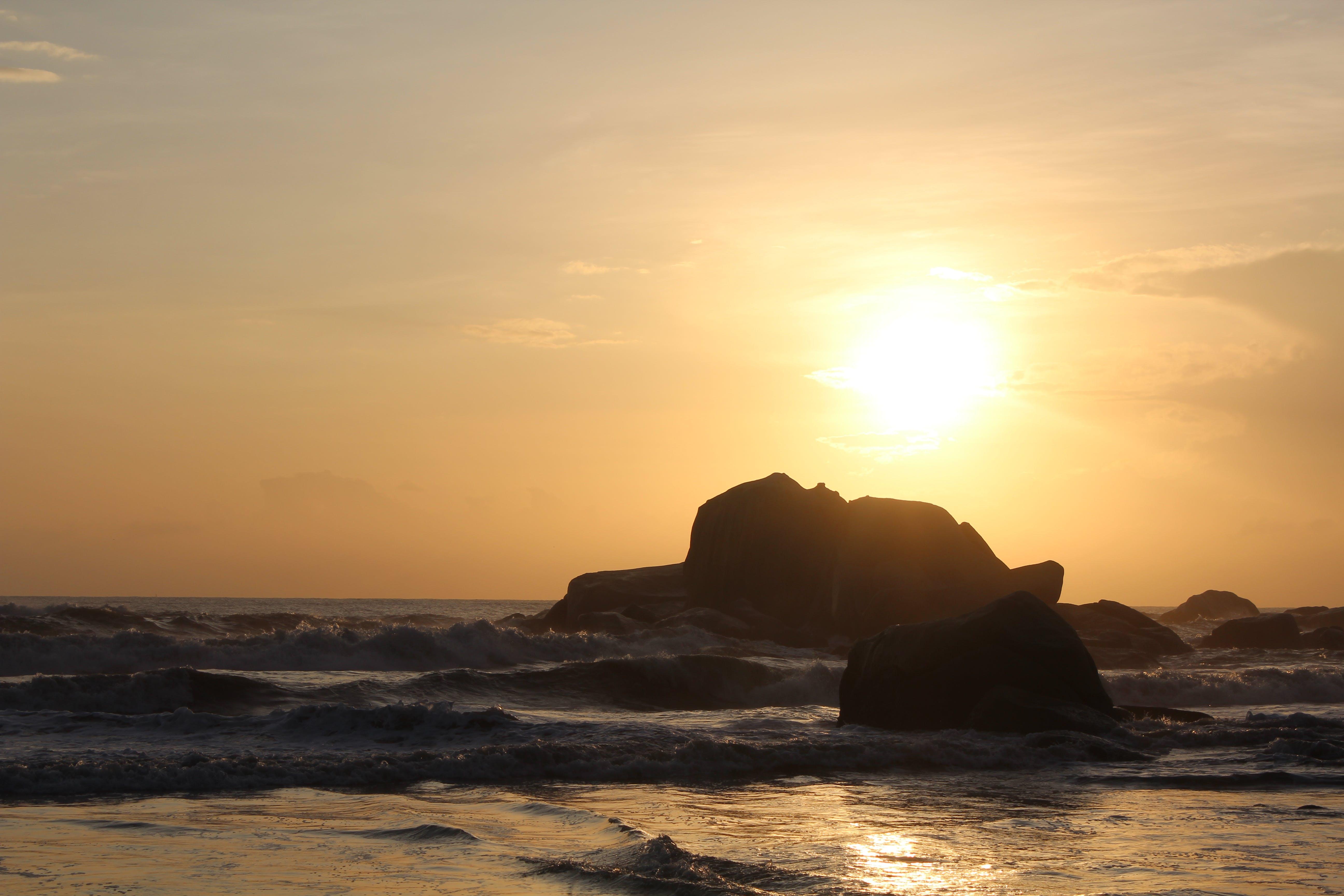 Free stock photo of beach, ocean, rocky beach, sunrise