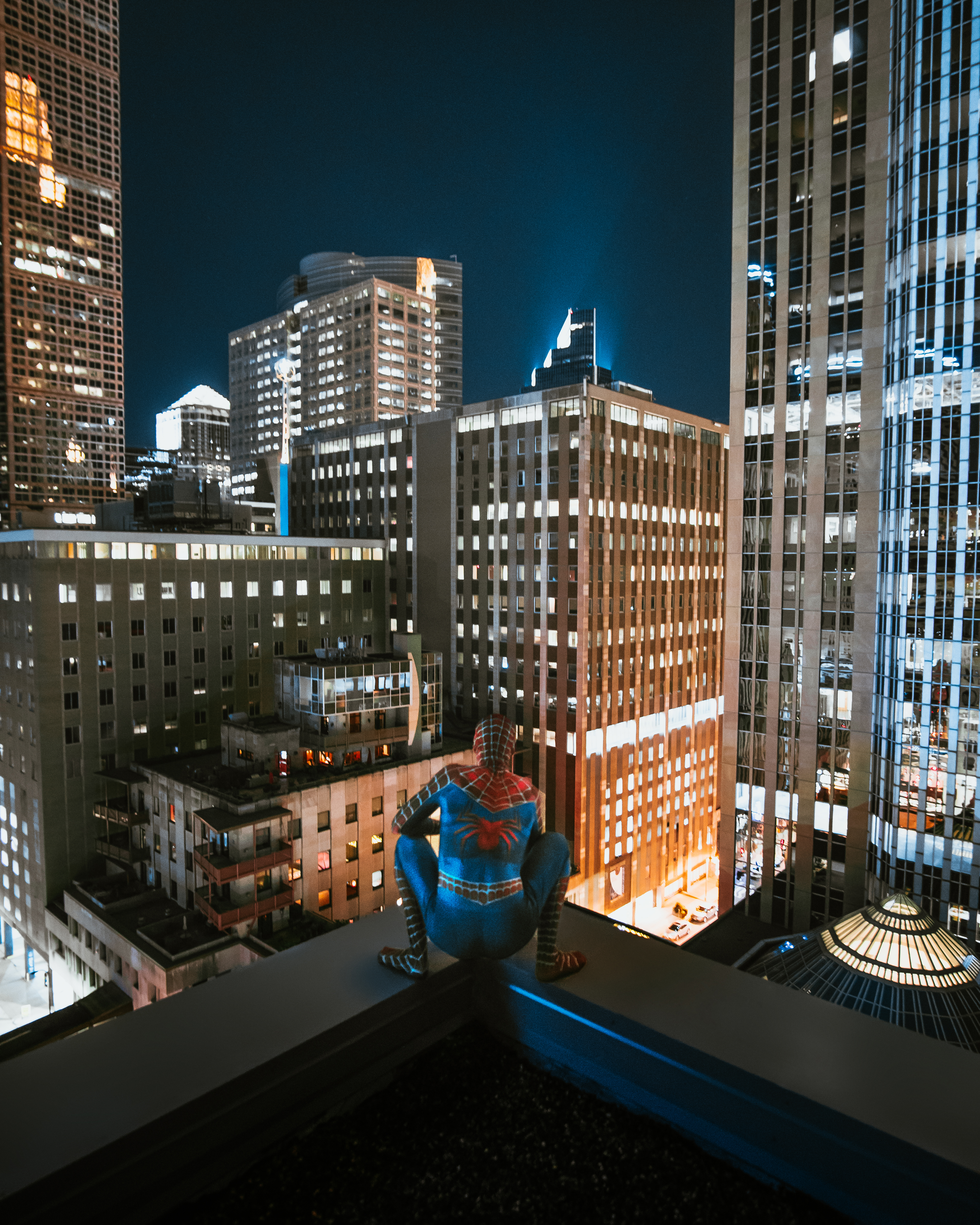 Spider Man on Top of Building