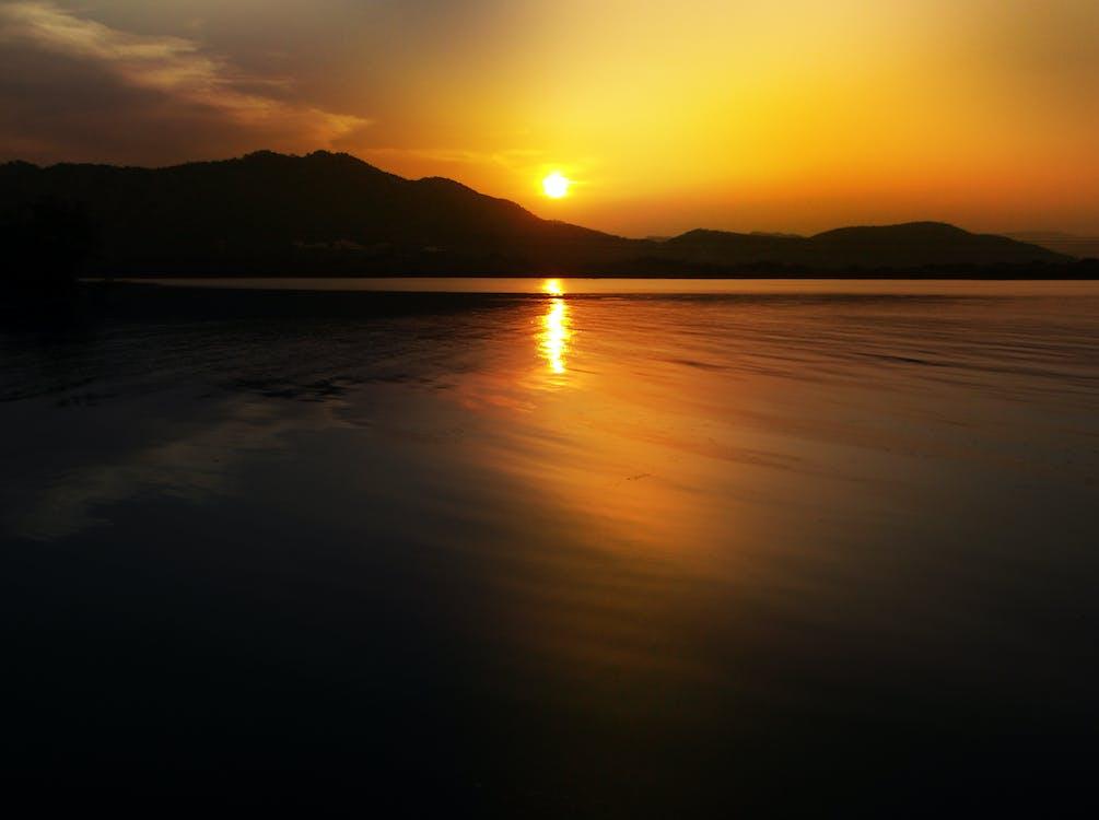 Free stock photo of mountains, orange sky, sunset