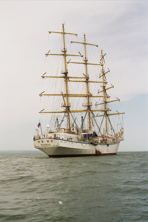 White Clipper Ship on Ocean