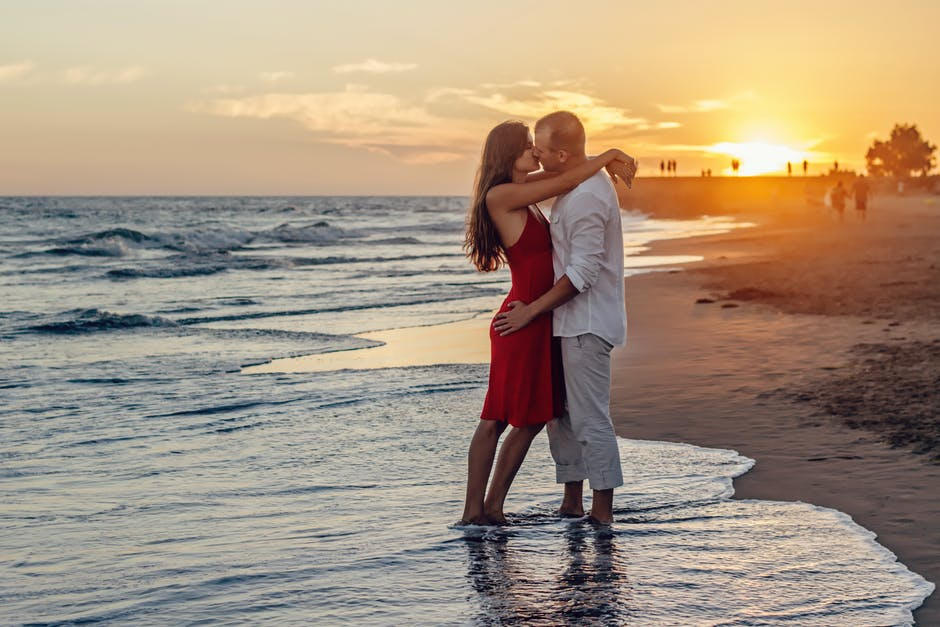 beach, couple, dawn