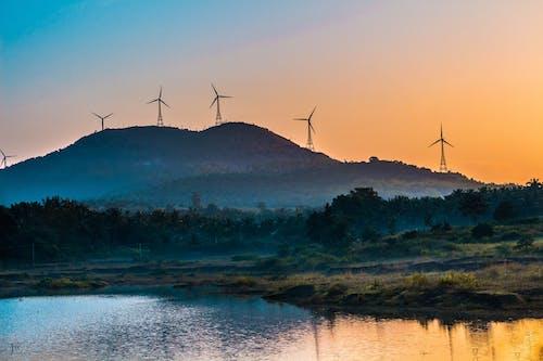 乾淨能源, 剪影, 天性, 山 的 免費圖庫相片